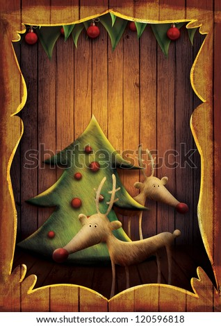 Christmas card - Reindeer with tree in wooden frame. Cartoon childish deer with Xmas tree on wooden background with frame. - stock photo