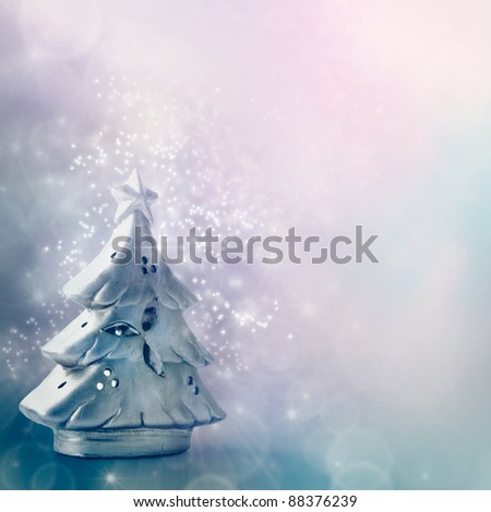 Christmas card series. Beautiful silver tree with bokeh festive lights and copyspace. - stock photo