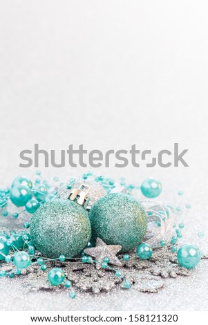 christmas card turquoise with copy space - stock photo
