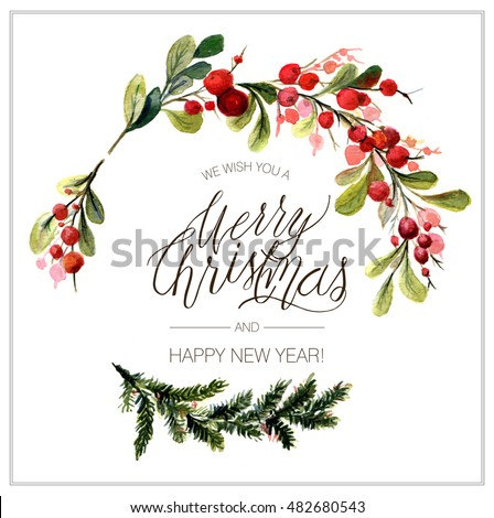 christmas card watercolor painting christmas wreath stock
