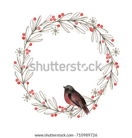 Christmas Card Watercolor Painting Winter Floral Stock Illustration ...