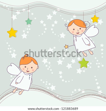 Christmas card with a cute little angels