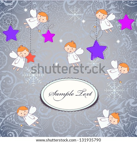 Christmas card with a cute little angels and place for your text - stock photo
