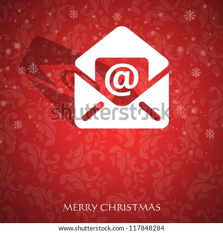Christmas card with an email symbol - stock photo