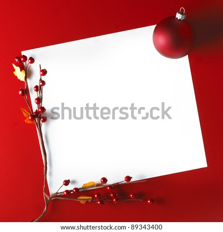 Christmas Card With Ball And Hawthorn over red background
