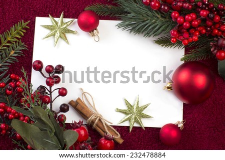 Christmas card with balls, gifts and berries, backgrounds - stock photo