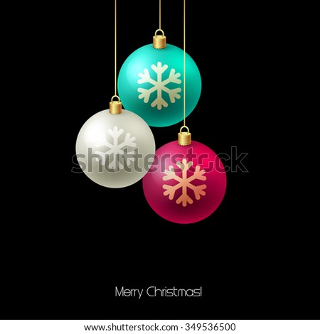 Christmas card with baubles. Christmas  tree decoration.  - stock photo