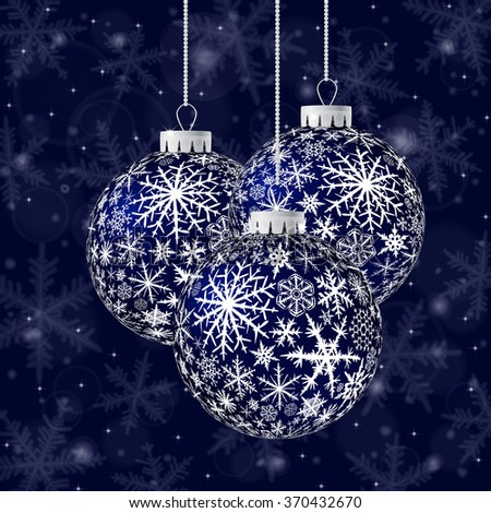 Christmas card with black balls and snowflakes on dark blue background. Raster version. - stock photo