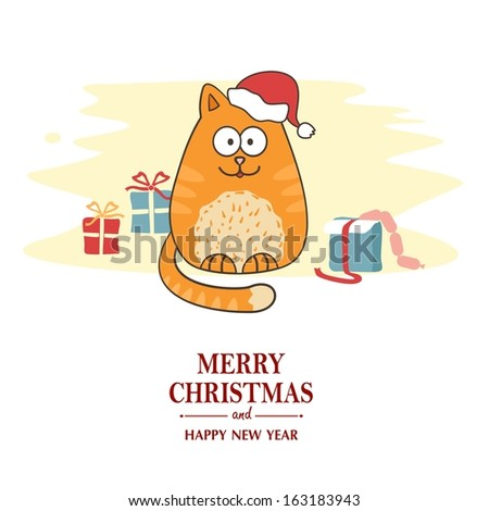 Christmas card with cartoon cat wearing a Santa hat.