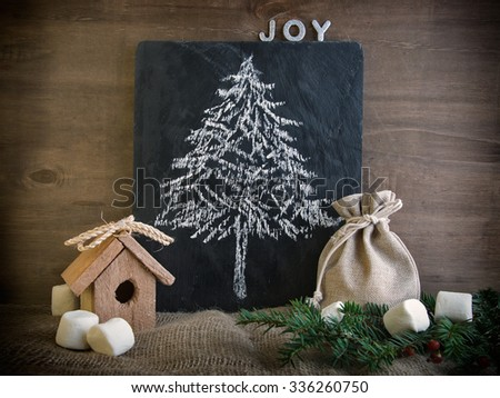 Christmas card with chalkboard and christmas tree drawing