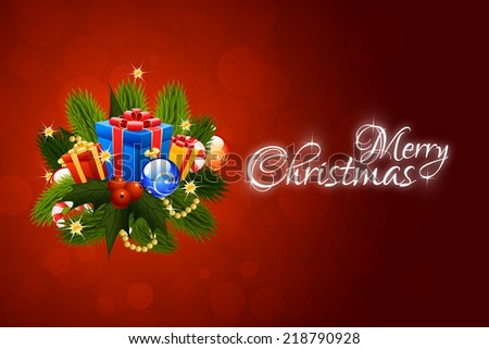 Christmas Card with Christmas Decorations and Presents - stock photo