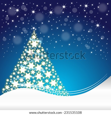 Christmas card with christmas tree - stock photo