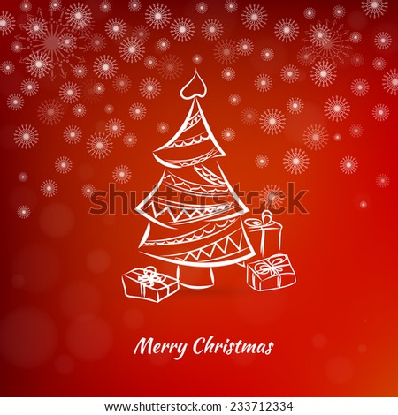 Christmas card with christmas tree on a red background - stock photo