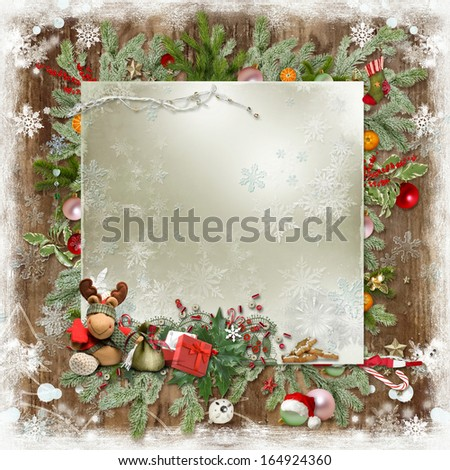 Christmas card with Christmas tree, snowflakes, toys and space for text