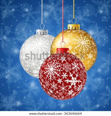 Christmas card with color balls and snowflakes on blue background. Raster version. - stock photo