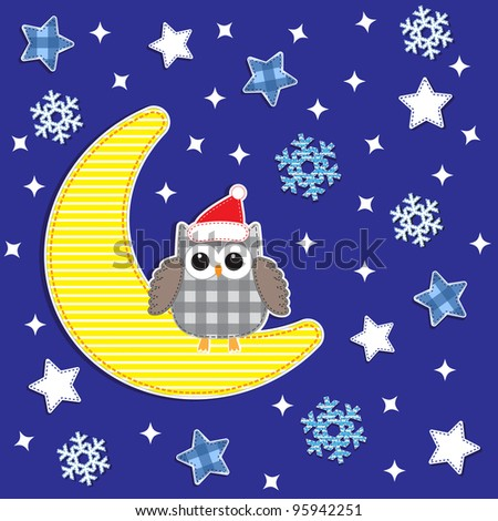 Christmas card with cute owl.Raster version