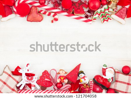 Christmas card with decorations - stock photo