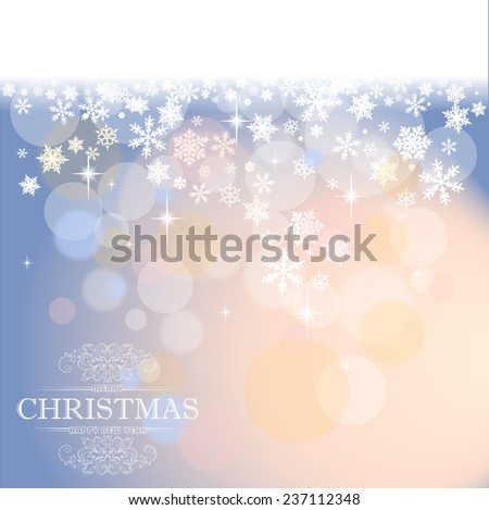 Christmas card with defocused lights and snowflakes  - stock photo