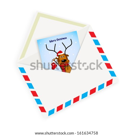 Christmas card with envelope on a white background - stock photo