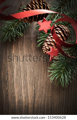 christmas card with fir and copy space   - stock photo