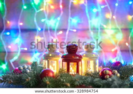 Christmas card with fir tree and decoration on lights bokeh background with copy space - stock photo