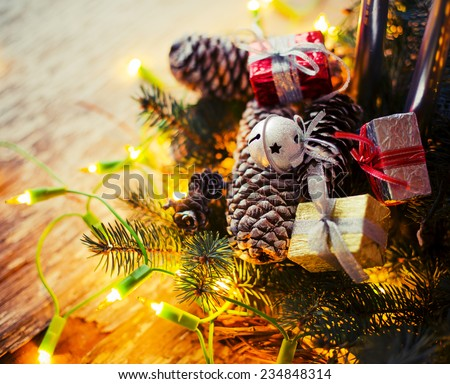 Christmas Card with Fir Tree,Gifts, Candles / Christmas composition with candles with christmas decorations /selective focus  - stock photo