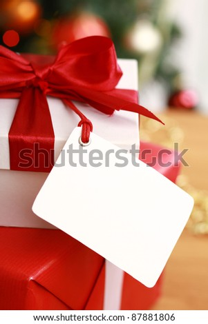 Christmas card with gift boxes - stock photo