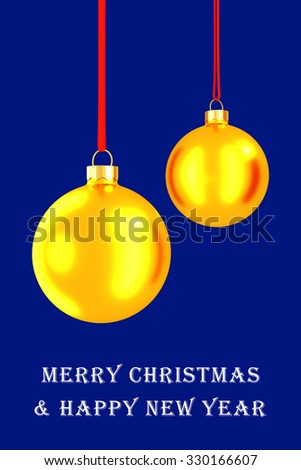 Christmas card with glass balls