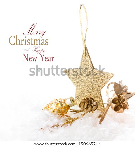 Christmas card with golden star and decorations isolated on a white background (with easy removable sample text) - stock photo