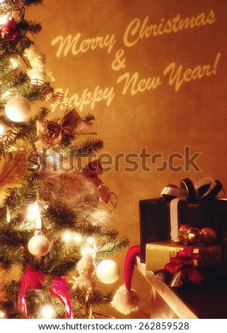 Christmas card with greeting, tree and presents - stock photo