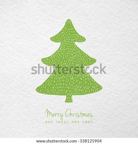 Christmas card with hand drawn christmas tree. Raster version - stock photo