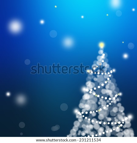 Christmas card with holiday tree on dark blue background . - stock photo