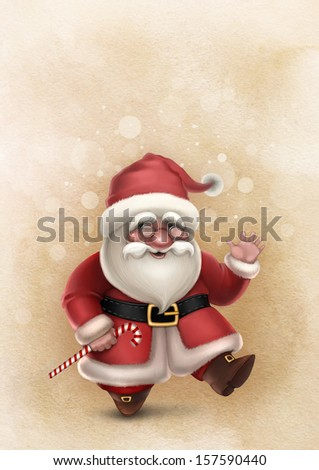 Christmas card with illustration of Santa Claus  - stock photo