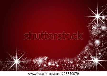christmas card with shiny lights and stars, red and black, empty text space - stock photo