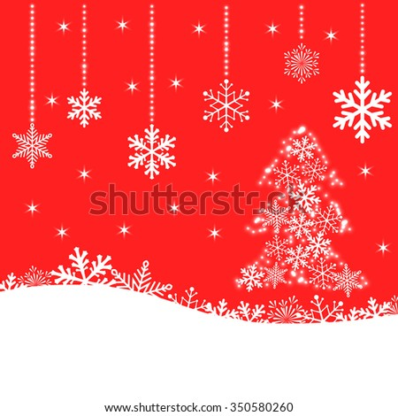 Christmas card with snowflakes and fir-tree on red background for your design. Winter card Merry Christmas, New Year and Happy Holiday. - stock photo