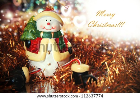 Christmas card with snowman - stock photo