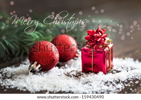 christmas card with text merry christmas  - stock photo