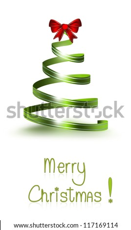 Christmas card with tree of ribbon - stock photo