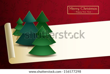 Christmas card with trees illustration