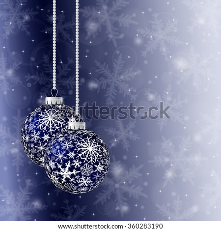Christmas card with two blue balls and snowflakes on light background. Raster version. - stock photo
