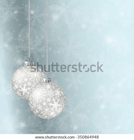 Christmas card with two white balls and snowflakes on light background. Raster version. - stock photo