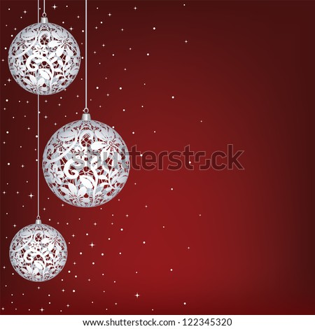 Christmas card with white lace baubles on red background