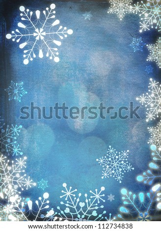 Christmas card with white snowflakes against blue background. Plenty of copy space. Hand-painted elements with digital elements. - stock photo