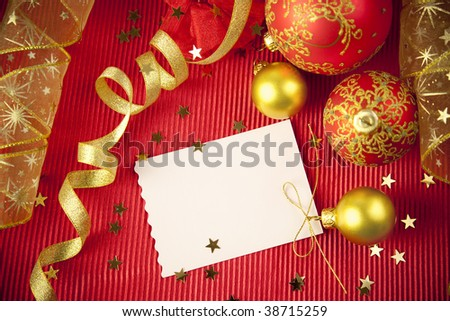 Christmas cards and paper with decorations and copy space