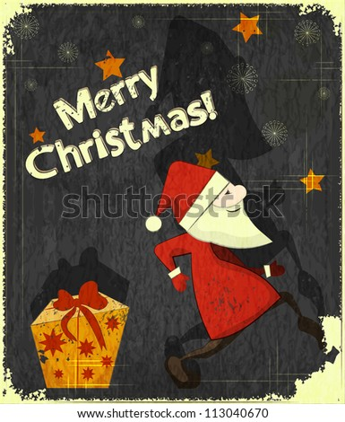 Christmas cards with Santa Claus and Gift box - New Year postcard in Retro style - JPEG version - stock photo
