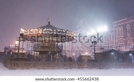 Christmas carousel on the Red square - stock photo