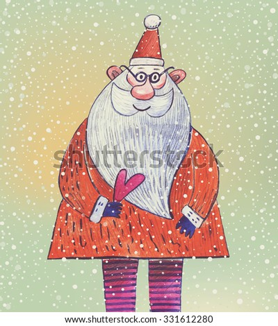 Christmas cartoon card with Santa. Funny smiling Santa Claus under the snowfall in cute childish style - stock photo
