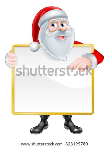 Christmas cartoon illustration of Santa Claus holding a sign board and pointing at it. - stock photo