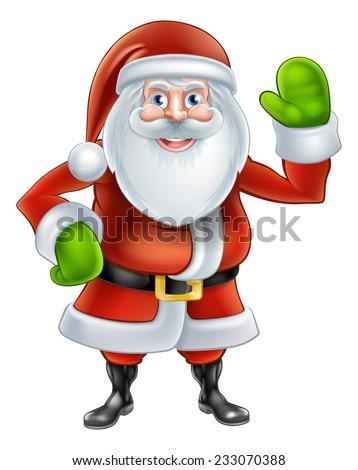 Christmas cartoon Santa Claus character waving - stock photo