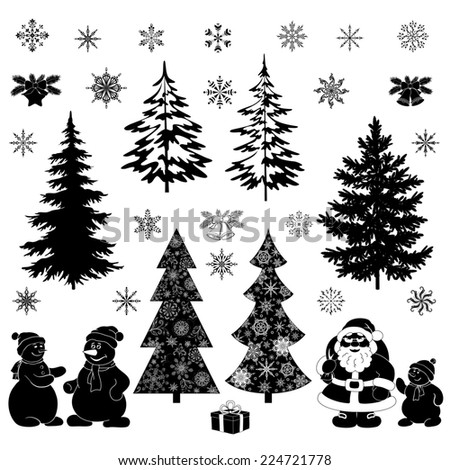 Christmas cartoon, set black silhouettes on white background, Santa Claus, fir trees, snowflakes, snowman and various holiday objects and symbols. - stock photo